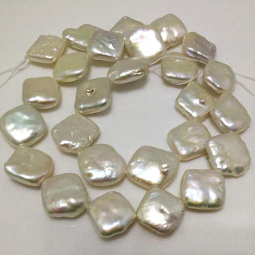 16 inches 14-15mm Diagonally Drilled Flat Square Shaped Natural Pearl Loose Strand