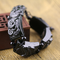 Delicate rough stone Pure manual sculpture black 5 poison scorpion, snake bracelet charm male style hand string