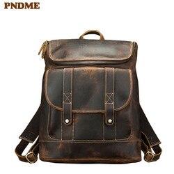 PNDME simple vintage genuine leather mens backpack simple large capacity crazy horse cowhide luxury anti theft laptop bookbag