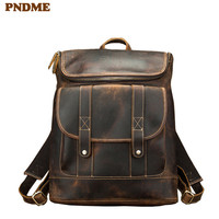 PNDME simple vintage genuine leather men's backpack simple large capacity crazy horse cowhide luxury anti theft laptop bookbag