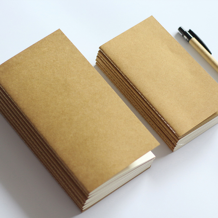 Standard/Pocket Kraft Paper Notebook Blank Dot Grid Notepad Diary Journal Traveler's Refill Planner Organizer Filler Paper