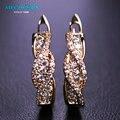 MECHOSEN Copper Gold Plated Stud Earrings For Women Bridal Wedding Jewelry Cubic Zirconia Brincos Korea Innovative Ears Bijoux