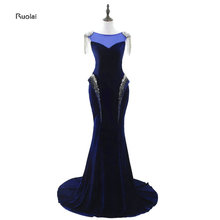 In Stock 2017 Real Sample O-Neck Beading Crystal Tassel Velour Velet Mermaid Evening Dresses For Wedding Party Prom Party Dress