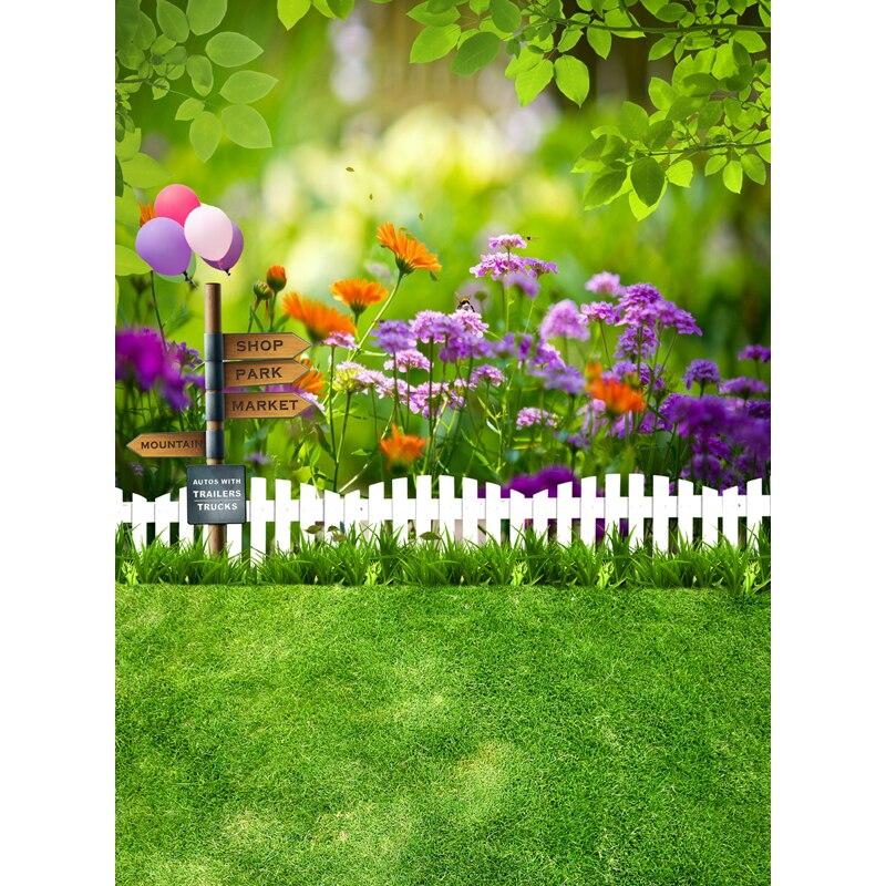 Beautiful Green Garden Flowers Ballons Backdrops Newborn Kids