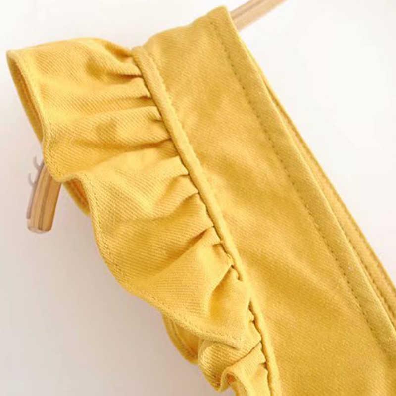 Estilo Vintage Doce Ruffles Curto Tops Blusas 2019 Da Forma Das Mulheres Sem Mangas Para Trás Rendas Até Senhoras Camisas Casual Blusas Mujer