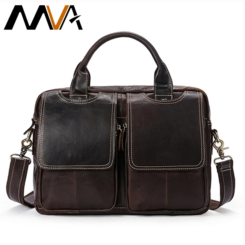 MVA Genuine Leather Bag Business Men Bags Male Leather Laptop Tote Briefcases Men Messenger Bags Zipper Shoulder Crossbody Bags mva business men briefcase handbags leather laptop bag men messenger bags genuine leather men bag male shoulder bags casual tote
