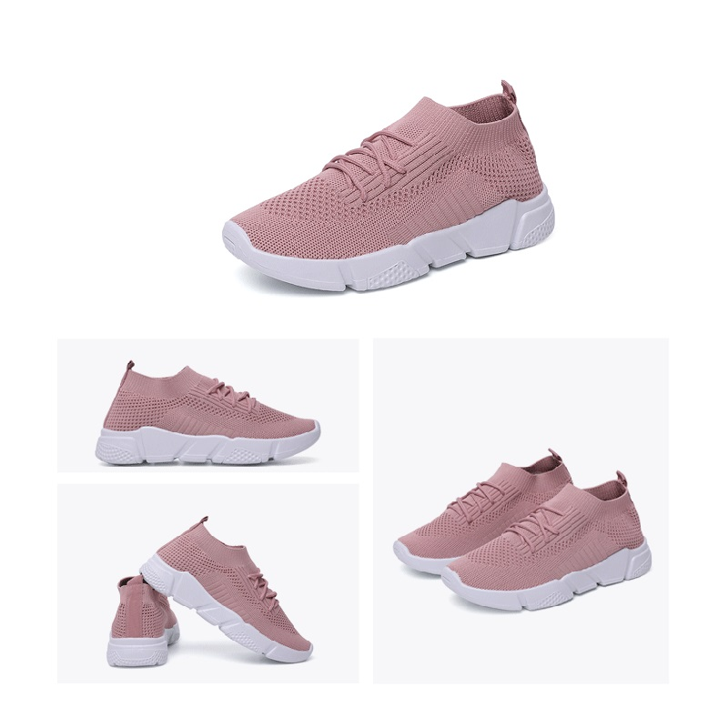 Women 39 s Sneakers Flat Knitting Spring Mesh Shoes New Plus Size 36 42 Female Vulcanized Ladies Slip On Breathable Running Shoes in Running Shoes from Sports amp Entertainment