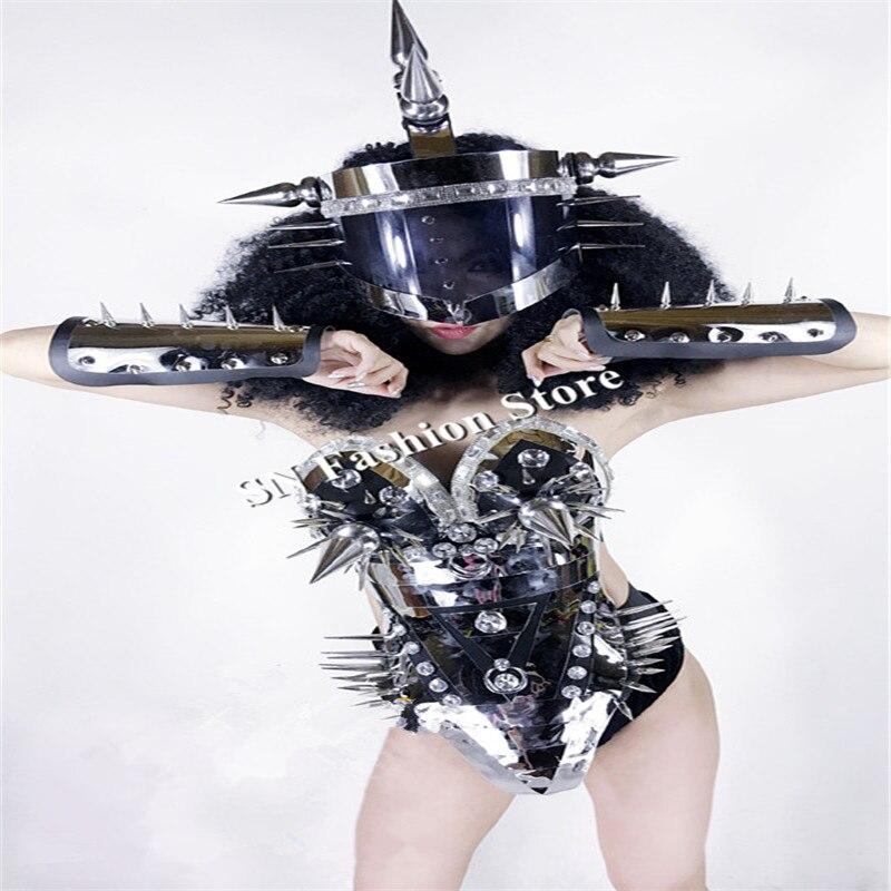 BC59 Stage show sexy rivet miroir argent vêtir salle de bal de danse robe soutien-gorge bar parti ktv casque robot performance porte costume dj