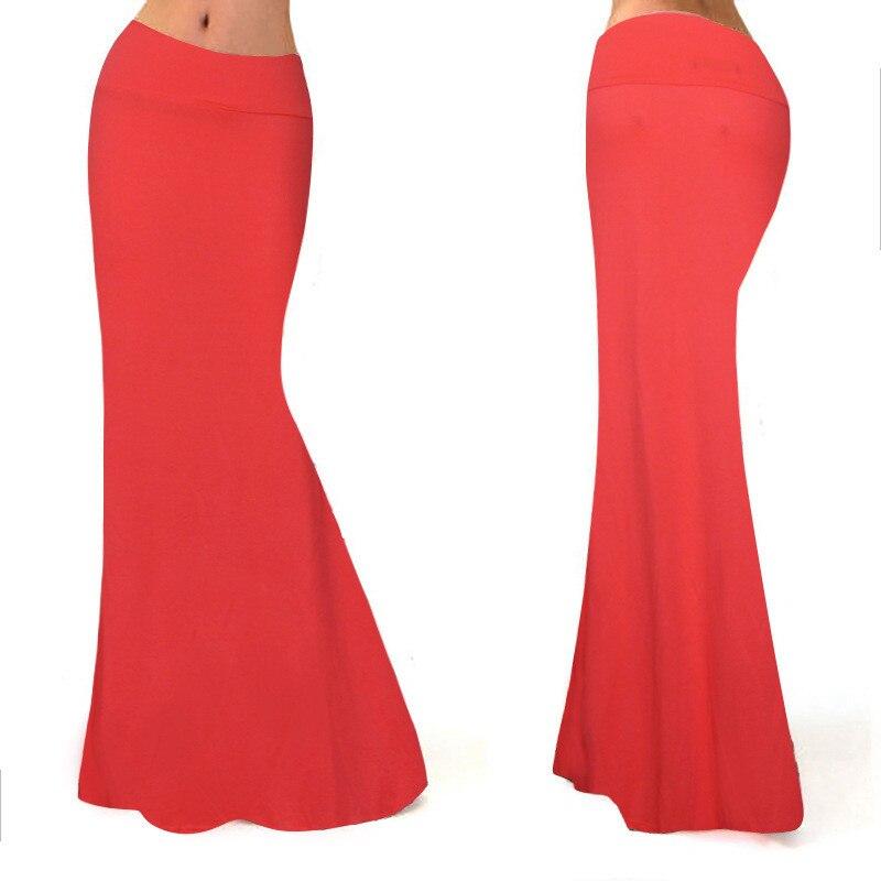 Long Skirt Elastic High Waist Women Solid Red Purple Yellow