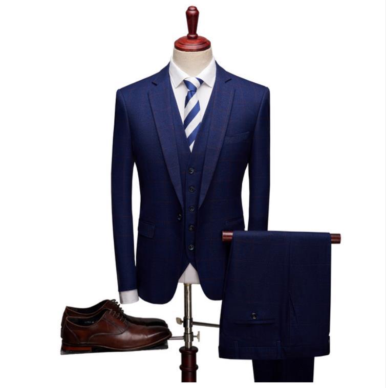(Jacket+Vest+Pant) 2019 Custom Slim Fit Fashion Classic Plaid Suits Men's Business Wedding Suits For Men Full Size Costume Homme