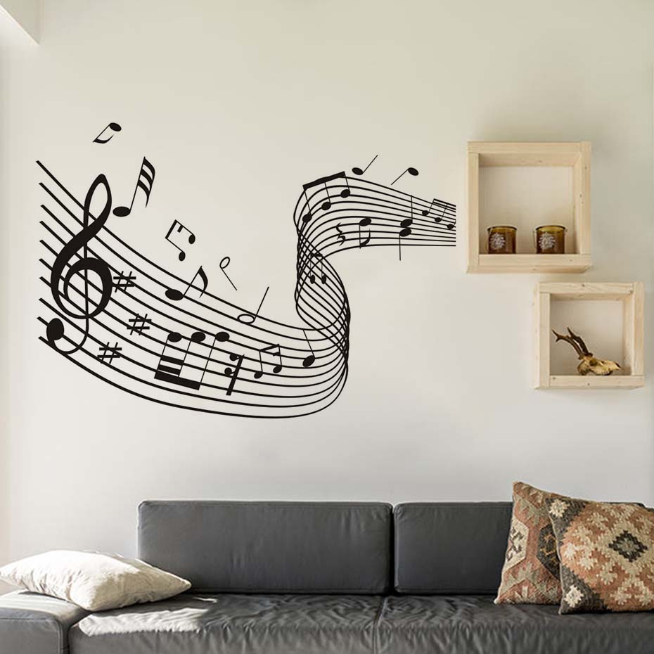 music art home decor quaver word dance musical notes wave wall stickers living room nursery. Black Bedroom Furniture Sets. Home Design Ideas