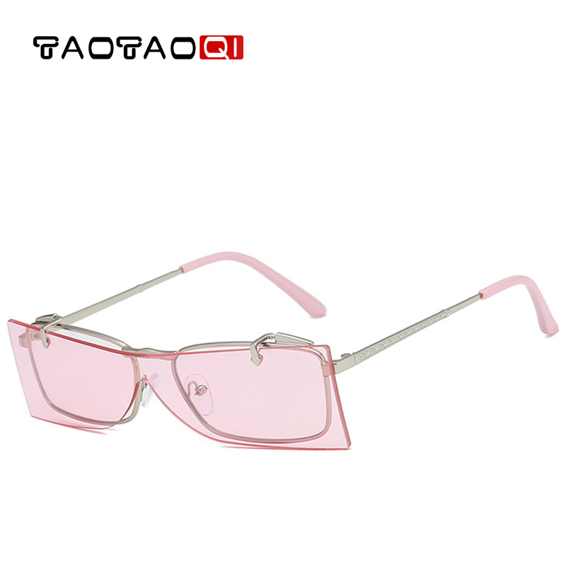 TAOTAOQI Fashion Steampunk Flip Sunglasses Women UV400 Retro Brand Designer Square Frameless Sun Glasses For Female Eyewear