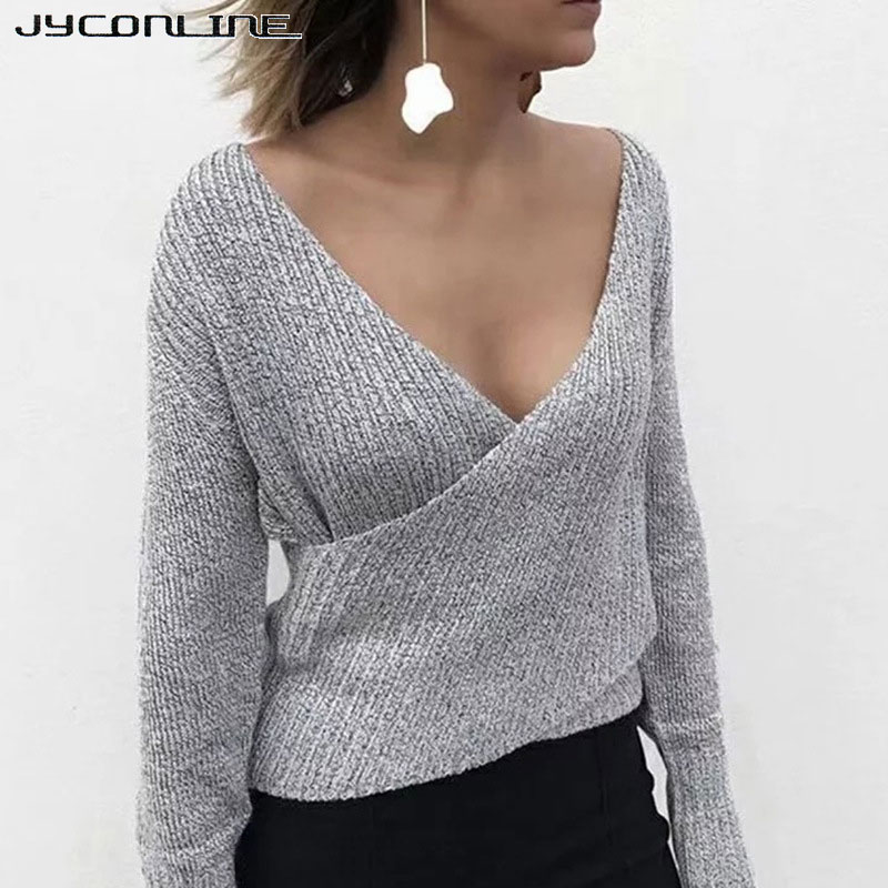 JYConline Winter Sexy Off Shoulder Deep V Neck Knitting Sweater Women Pullover Female Jumper Casual Christmas Sweater Pull Femme
