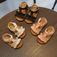 Summer Kids Sandals Girls Sandal Ruffles Princess Shoes Anti Slip Baby Sandal Toddler 12 16CM