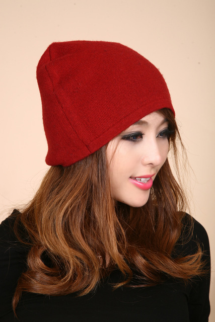 New Solid Outdoor winter's wool knitted hats Men's and women's warm hat with ears