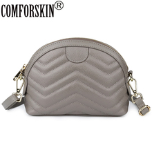 COMFORSKIN Brand Luxury Cowhide Leather Clutch Bag High Quality Ladies Messenger Fashion Geometric Small Cross-body 2019
