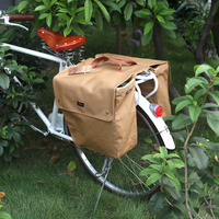 Tourbon Vintage Waterproof Canvas Bicycle Pannier Bag Cycling Bike Back Seat Rear Rack Trunk Two Storage