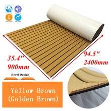 Upgrade Teak Decking Sheet For Boat Yacht Marine Flooring Carpet EVA Non slip Mat 90cm240cm/35.494.5 Yellow Brown Accessories