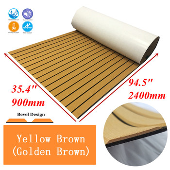 "Upgrade Teak Decking Sheet For Boat Yacht Marine Flooring Carpet EVA Non slip Mat 90cm240cm/35.4""94.5"" Yellow Brown Accessories"