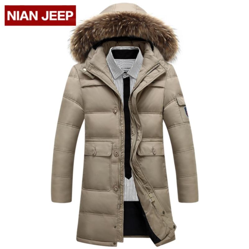 Aelfric Eden Men Parka Fur Collar Hood Green Long Coat Jacket Military Hooded Jackets Fleece Winter