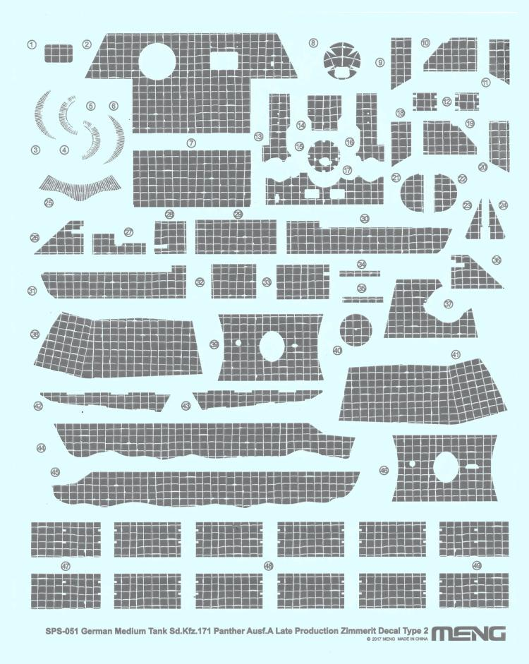 Meng Model SPS-051 1/35 Panther Ausf.A Late Production Zimmerit Decal Type.2