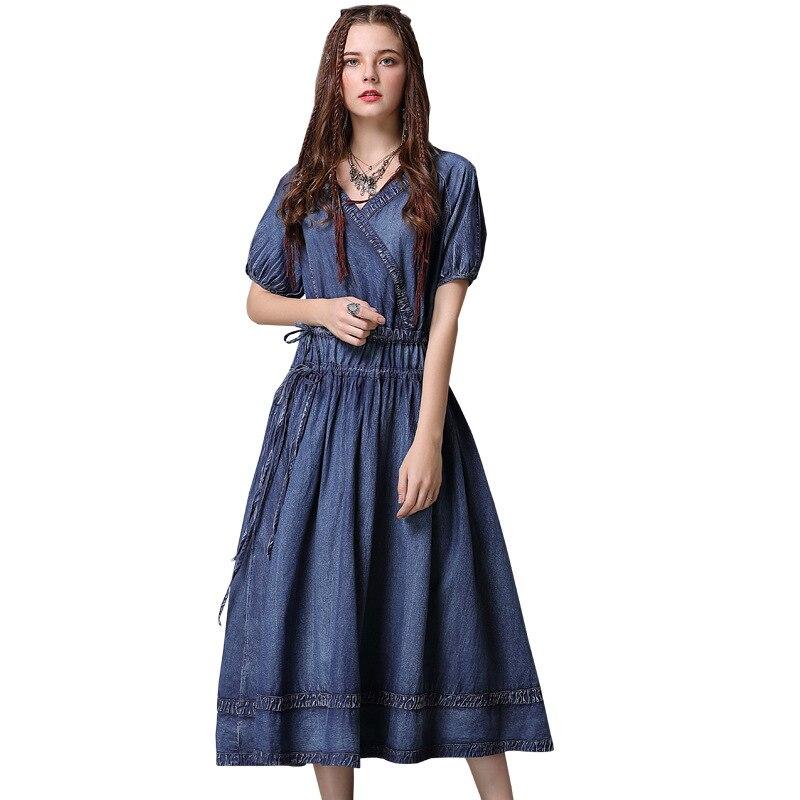 Summer women dress New High waist sexy Dress V neck short sleeved denim dresses vintage pleated drawstring plus size Dresses in Dresses from Women 39 s Clothing