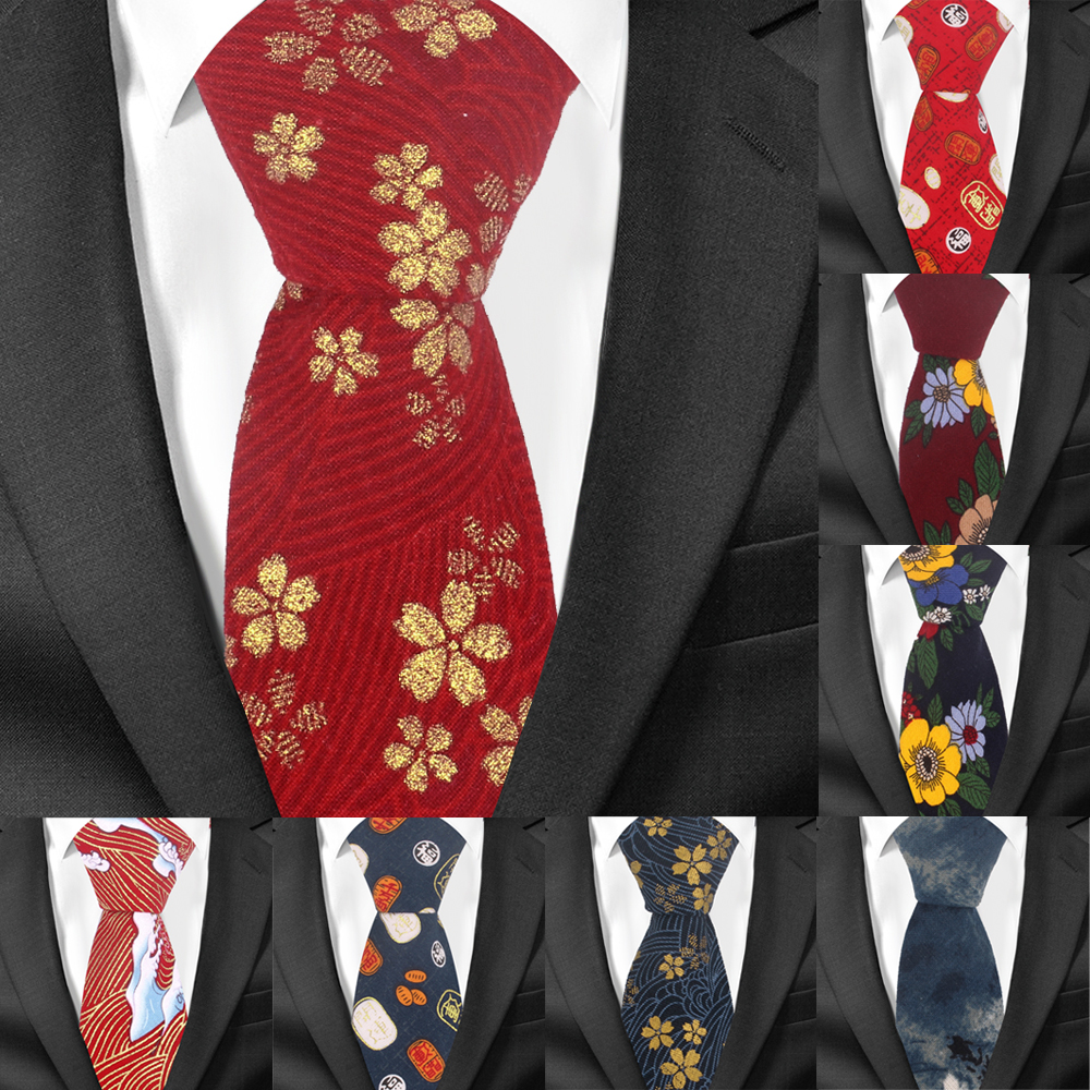 Floral Ties For Men Causal Suit Cotton Tie 7cm Width Gravata Fashion Male Printed Bow Neck Ties Wedding Corbata Neckties