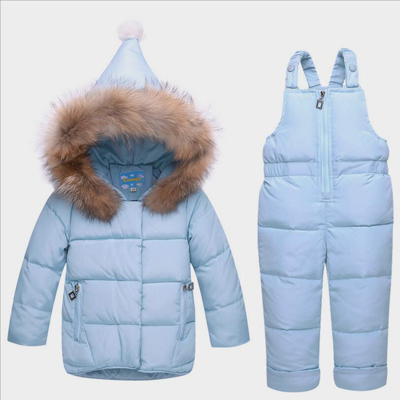 BibiCola 2018 baby girls clothing sets winter down parkas infant bebe girls clothes suits toddler hooded coat+overalls thermal