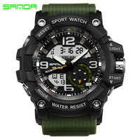 SANDA Military Sport LED Digital Watch Luxury Brand Waterproof Men S Dual Display Casual Quartz Watch