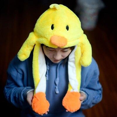 Новинка, Мультяшные шапки с подвижными ушками, милый Игрушечный Кролик, шапка с подушкой безопасности, Kawaii, забавная шапка для девочек, детская плюшевая игрушка, рождественский подарок - Цвет: Yellow duck
