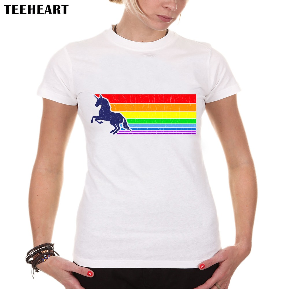 TEEHEART Women Summer Novelty 80s Vintage Rainbow Design T shirt Unicorn Printed Tops Hot Sales Tee Shirts PX503