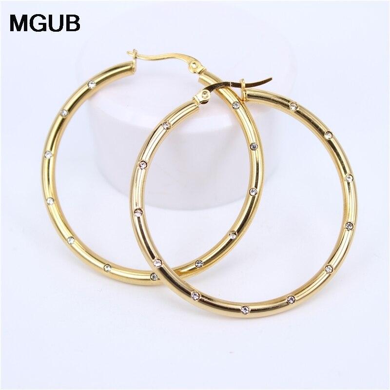 MGUB Diameter 35MM-55MM Big crystal Hoop Earrings Gold Color Stainless Steel Jewelry Circle Round Earrings For Women LH501