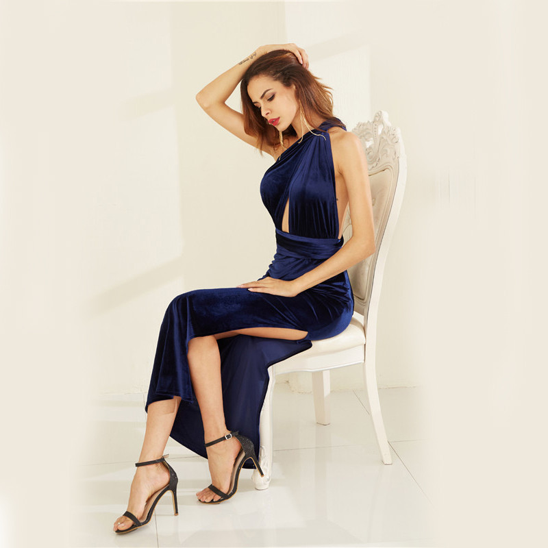 COLROVIE Womens Sexy Dresses Party Night Club Dress Elegant Dress Sexy Blue High Slit Velvet Convertible Backless Dress 8
