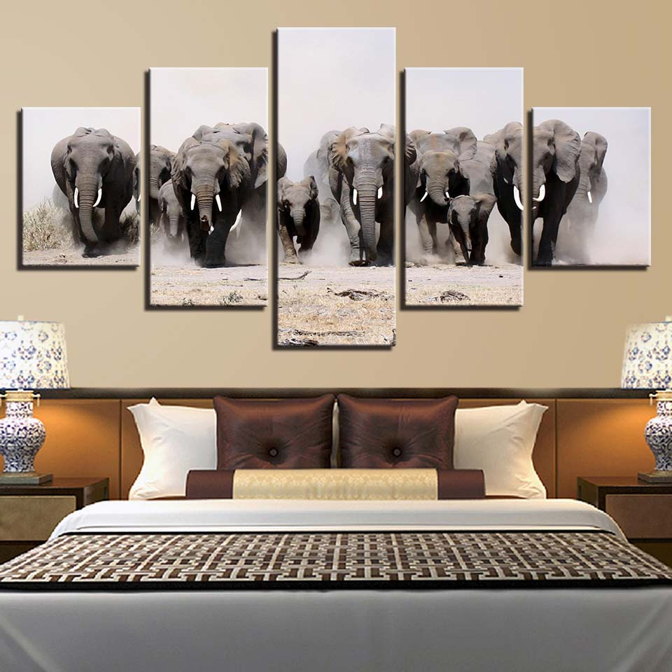 Animal Print Elephant Dog Bear Lion Canvas Paintings Poster Wall Print Canvas 5 Panel Home Decorations Living Room Abstract 311
