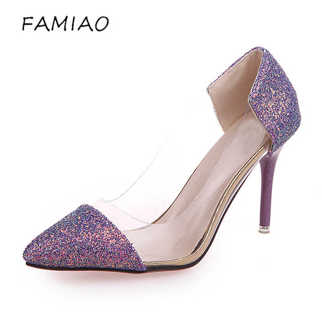 2828d5283 Online Shop FAMIAO Women Pumps 2018 Transparent High Heels Sexy Pointed Toe  Slip-on bling Wedding Dress Shoes For Lady party pumps