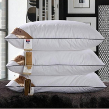 2017 home textiles sleeping pillow 100% feather fabric filled pillows Neck health cotton bedding 48x74cm High quality