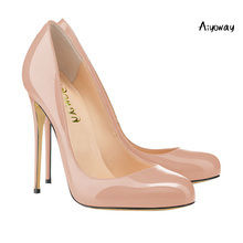 Aiyoway Women Shoes Lady Round Toe High Heels Pumps Slip On Autumn Spring Wedding Party Shoes Black & Red & Nude Sexy Thin Heels foreada cow genuine leather women shoes slip on mules sexy thick high heels shoes spring 2018 pumps black square toe party shoes