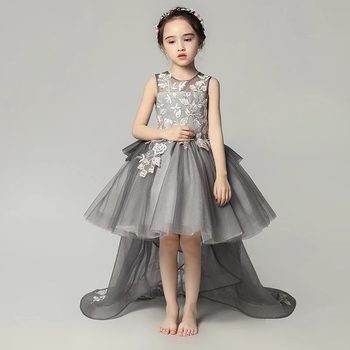 2018 Summer New Luxury Children Girls Embroidery Flowers Black Birthday Wedding Party Long Tail Dress Kids Toddler TUtu Dress