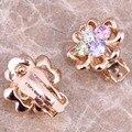 Encantador Multicolor Multigem Rosa Criado Topázio Banhado A Ouro de Alta Qualidade Alto Grau de Brincos Clipe Huggie P668