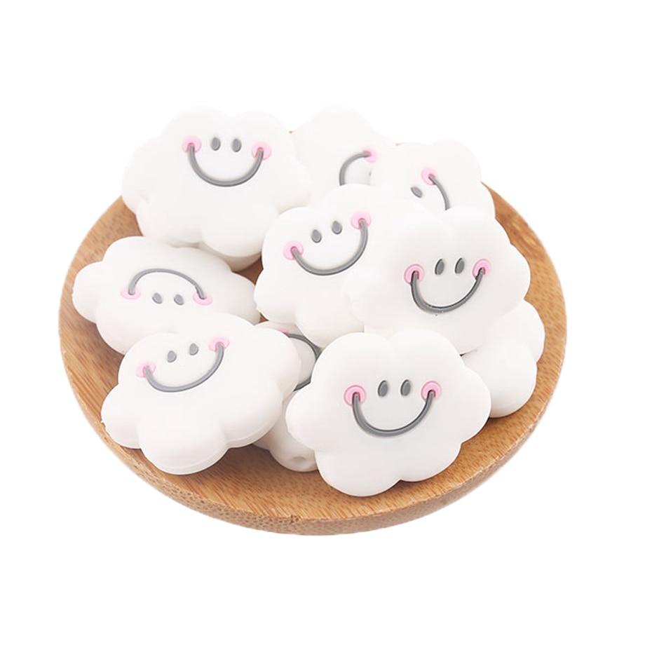 Baby Teether 3pc Cute Silicone Mini Cloud Beads Teething Smiley Cloud Beads Baby Nursing Accessories 0-12 Months BPA Free Diy