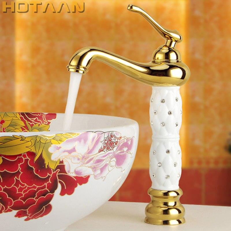Livraison gratuite nouveauté salle de bains or bassin robinet or finition laiton mitigeur avec céramique torneiras para banheiro YT-5017