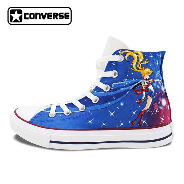 746159f4407a40 Women Men Converse All Star Anime Sailor Moon Design Hand Painted Shoes Man  Woman High Top