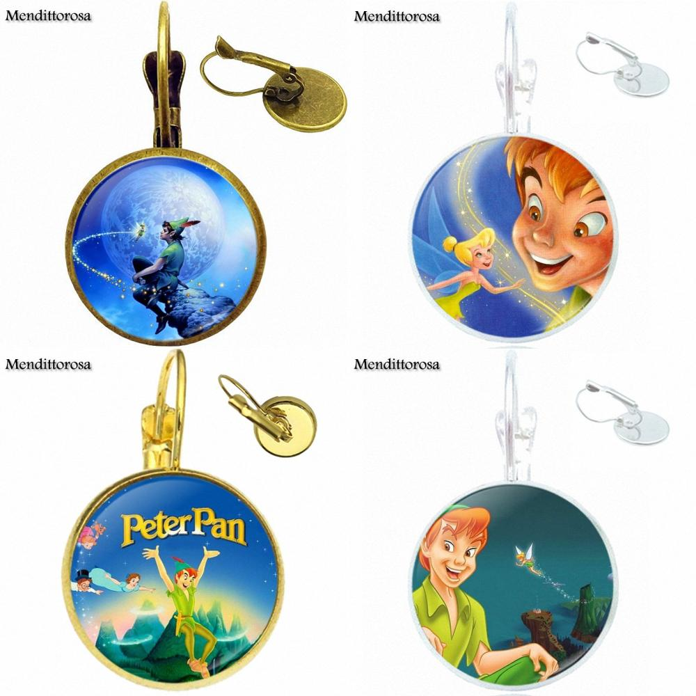 For Men Women Vintage Glass Cabochon Jewelry With Bronze/Silver/Golden Clip Ear Hook Drop Earrings Peter Pan and Tinkerbell
