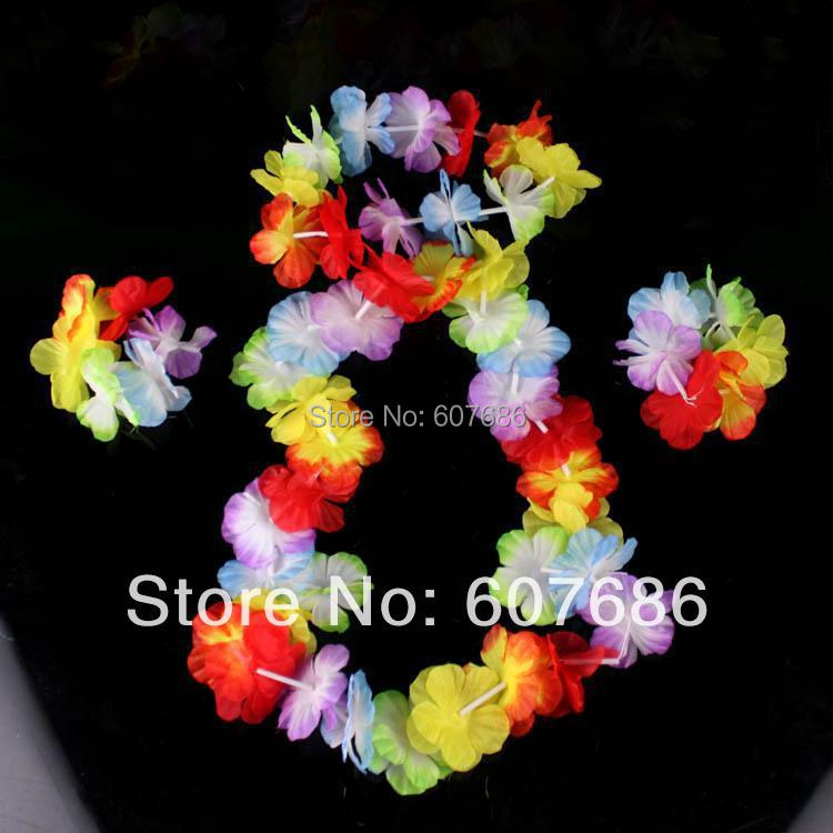 50 komplektu vairumtirdzniecības Havaju ziedu Lei Fower - Svētku piederumi