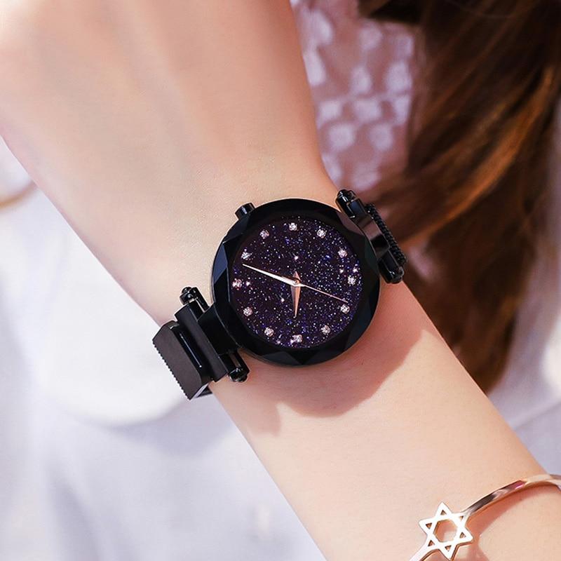 Luxury Brand ROSEFIELD Ladies Watch Star Sky Diamond Dial Women Bracelet Watches Magnetic Stainless Steel Mesh Wristwatches
