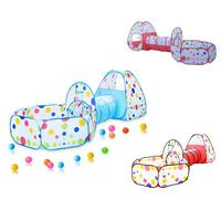 3 In 1 Tunnel Baby Toy Children Folding Tent House Marine Folding Shot Ball Pool (Ocean Ball Purchased Separately)