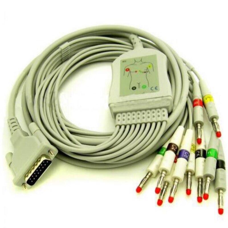Бесплатная доставка совместимый для Schiller 10 свинец ЭКГ/ЭКГ кабель Банан 4,0 мм AT-1, AT3 AT6 CS6 AT5 AT10 медицинский кабель и провод IEC 10K
