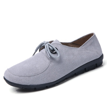 EOFK Women Flats Shoes Woman Suede Leather Flat Shoes Lace up Women Ballet Flats Casual Moccasins Ladies Sneakers Female Shoe