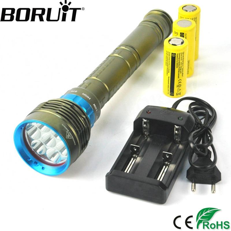 Boruit 14000LM 7 XML L2 LED Diving Flashlight Underwater 200M Waterproof Scuba Torch Flash Light Portable