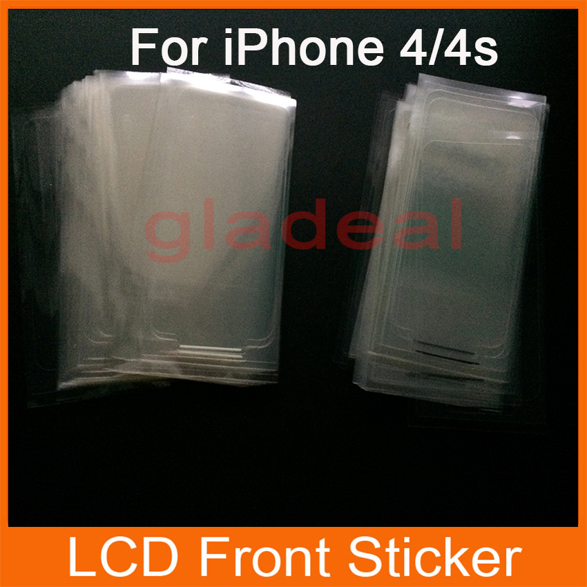 100 Pcs/Lot Plastic Seal Factory Screen Protecter Film LCD Glass Sticker For iPhone 4/4s Refurbished Replace Repair Parts